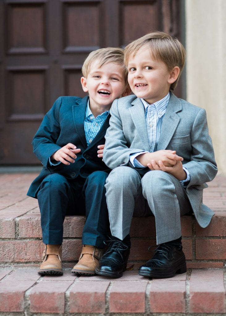 family photo twin boys on steps