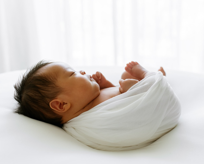 light and airy newborn portrait